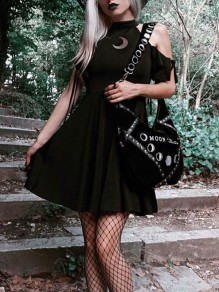 Black Pleated Off-Shoulder Halter Neck Witch Gothic Party Mini Dress
