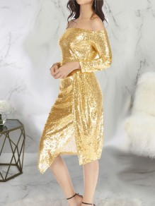 Golden Patchwork Sequin Side Slits Off Shoulder Long Sleeve Sparkly Glitter New Year's Eve Midi Dress