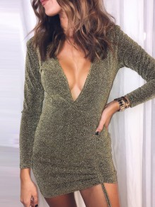 Golden Drawstring Cut Out V-neck Long Sleeve Fashion Mini Dress