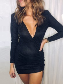 Black Drawstring Cut Out V-neck Long Sleeve Fashion Mini Dress