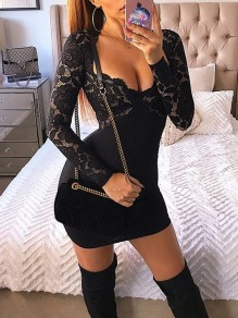 Black Patchwork Lace Grenadine V-neck Long Sleeve Fashion Mini Dress