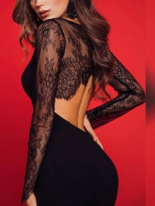Black Patchwork Lace Grenadine Asymmetric Shoulder Slit Backless Round Neck Long Sleeve Fashion Midi Dress