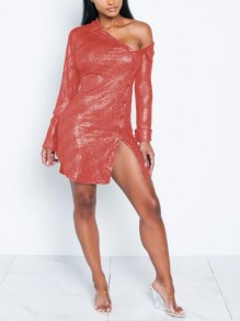 Red Sequin Irregular Single Breasted One-shoulder Bronzing Sparkly Party Mini Dress