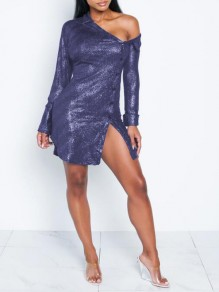 Purple Sequin Irregular Single Breasted One-shoulder Bronzing Sparkly Party Mini Dress