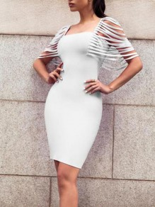 White Cut Out Tassel Bodycon Party Midi Dress