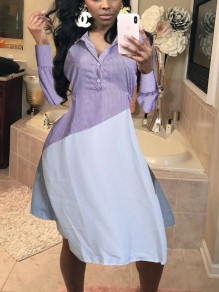 Purple Striped Pockets Buttons Irregular Turndown Collar Long Sleeve Casual Maxi Dress