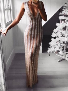 Pink Patchwork Sequin V-neck Sleeveless Party Maxi Dress