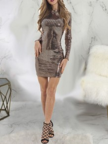 Golden Patchwork Sequin Bodycon Long Sleeve Round Neck Sparkly Glitter New Year's Eve Mini Dress