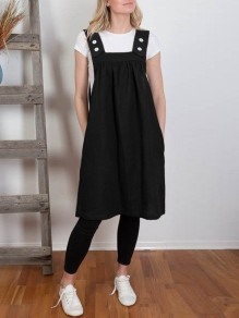 Black Patchwork Pockets Sashes Sleeveless Fashion Midi Dress