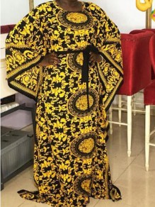 Yellow Tribal Floral Draped Sashes Flare Sleeve African Vintage Caftan Maxi Dress