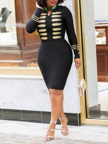 Black Embroidery Buttons Bodycon Long Sleeve Elegant Party Midi Dress