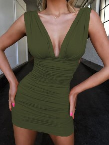 Army Green Cut Out Bodycon Deep V-neck Mini Dress
