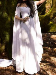 White Off Shoulder Pleated Long Sleeve Halloween Witch Party Maxi Dress