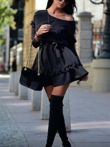 Black Pleated One Off Shoulder Belt Long Sleeve Cute Homecoming Party Mini Dress
