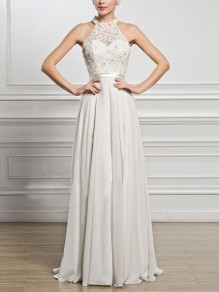 White Patchwork Lace Pleated Halter Neck Backless Elegant Bridesmaid Party Maxi Dress