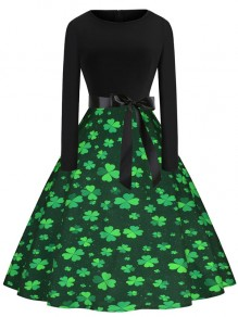 Green Four-leaf Clover Print Belt Long Sleeve Bow Pleated St. Patrick's Day Maxi Dress