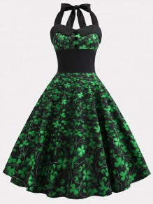 Green Clover Print Buttons Bow Halter Neck Patrick's Day Midi Dress