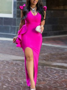 Rose Carmine Ruffle Thigh High Side Slits Bodycon V-neck Elegant Prom Evening Party Maxi Dress