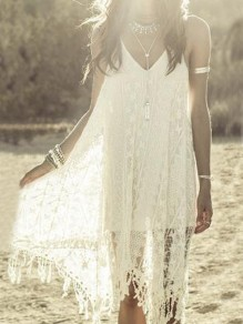 White Floral Lace Irregular Tassel Backless Deep V-neck Flowy Beach Midi Dress