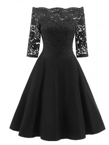 Black Patchwork Lace Draped Pleated Boat Neck Three Quarter Length Sleeve Elegant Midi Dress
