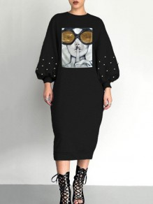 Black Patchwork Sequin Pearl Puff Sleeve Long Sleeve Round Neck Casual Maxi Dress