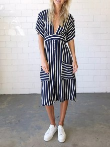 Navy Blue Striped Cut Out Pockets Belt V-neck Fashion Midi Dress