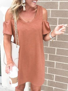 Pink Cut Out V-neck Short Sleeve Going out Midi Dress