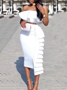 White Cascading Ruffle Two Piece Off Shoulder Bodycon Party Maxi Dress