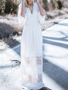 White Patchwork Lace Cut Out Backless V-neck Beach Maxi Dress