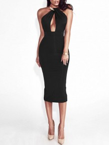 Black Patchwork Cut Out Bodycon Round Neck Party Midi Dress