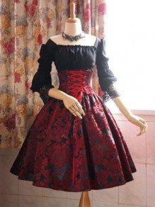 Black-Red Patchwork Lace Off Shoulder Lace-up 3/4 Sleeve Tutu Vintage Party Midi Dress