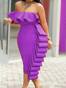 Purple Cascading Ruffle Off Shoulder Bodycon Elegant Prom Evening Party Maxi Dress