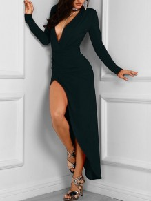 Black Cut Out Bodycon Long Sleeve Deep V-neck Party Maxi Dress