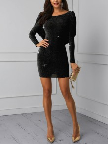 Black Bright Wire Backless Cross Back Bodycon Long Sleeve Sparkly Glitter Birthday Party Mini Dress