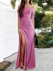 Pink Patchwork Bright Wire Side Split Off Shoulder Elbow Sleeve Party Maxi Dress