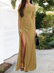 Champagne Patchwork Bright Wire Side Split Off Shoulder Elbow Sleeve Party Maxi Dress