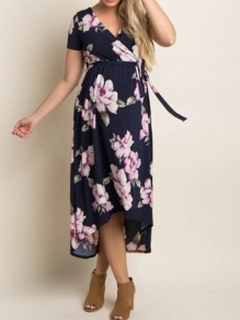 Navy Blue Floral Wrap Sashes Belt High-low Big Swing Prom Evening Party Maternity Dress