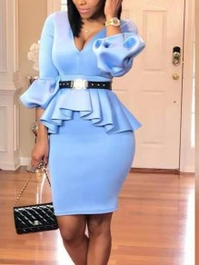 Blue Ruffle False 2-in-1 Bodycon Lantern Sleeve V-neck OL Elegant Party Midi Dress