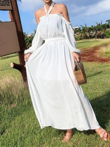 White Chiffon Tie Back Draped Cut Out Condole Belt Backless Pleated Boat Neck Three Quarter Length Sleeve Bohemian Maxi Dress