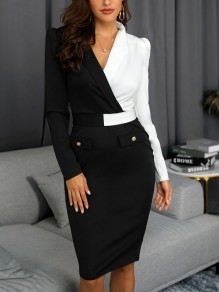 Black-White Patchwork Deep V-neck Turndown Collar Puff Sleeve Banquet Party Midi Dress