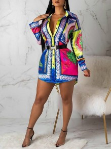 Blue Multicolor Vintage Colorful Print Turndown Collar Long Sleeve Shirt Mini Dress