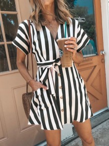 Black White Striped Sashes Pockets Buttons V-neck Mini Dress