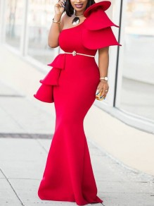 Red Asymmetric Shoulder Cascading Ruffle Bodycon Mermaid Elegant Prom Evening Party Maxi Dress