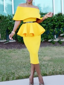 Yellow Ruffle Off Shoulder Bodycon Peplum Two Piece Set Elegant Prom Evening Party Midi Dress