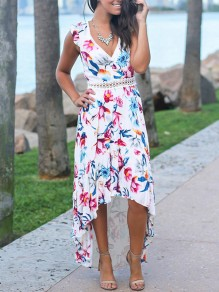 White Floral Print Patchwork Lace High-Low Swallowtail V-neck Sleeveless Bohemian Maxi Dress
