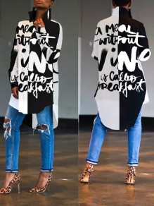 Black-White Letter Irregular High-Low Long Sleeve Casual Maxi Dress