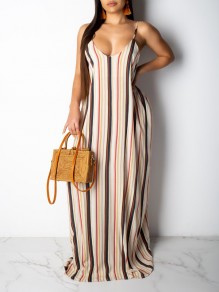 White Striped Spaghetti Strap Pockets Pleated V-neck Beachwear Party Maxi Dress