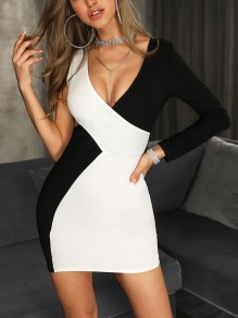 Black-White Asymmetric Shoulder Bodycon V-neck Party Mini Dress