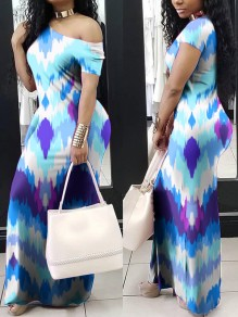 Blue Tie Dye Round Neck Short Sleeve Maxi Dress