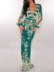 Green Tribal Print Deep V-neck Long Sleeve Cut Out Bohemian Maxi Dress